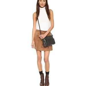Wayf brown faux suede button front mini skirt